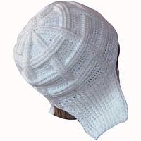 Женская вязаная зимняя шапка-ушанка(утепленный вариант) белого цвета