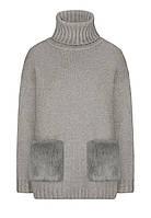 Faberlic Джемпер с карманами из экомеха цвет светло-серый меланж размер 40 42 44 46 48 50 52 54 56 Осенний пикник 158W2323 арт 521079