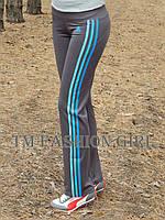 Женские спортивные штаны Adidas. Распродажа серый с голубыми лампасами, 44