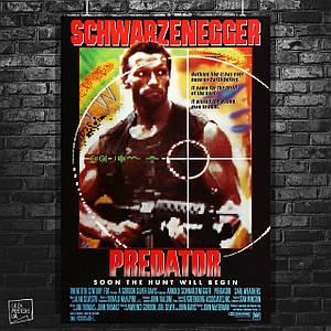 """Постер Ретропостер к фильму """"Хищник"""" (1987). Predator, Арнольд Шварценеггер. Размер 60x42см (A2). Глянцевая бумага"""
