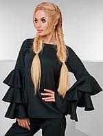 Женский изумрудный брючный костюм декорировано кружевами на рукавах.  Арт- 7419/90, фото 1