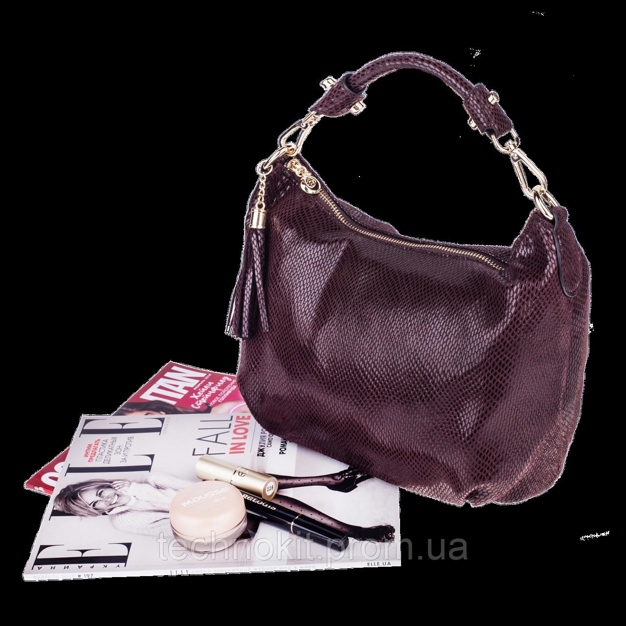 Женская сумка Realer P112 коричневая