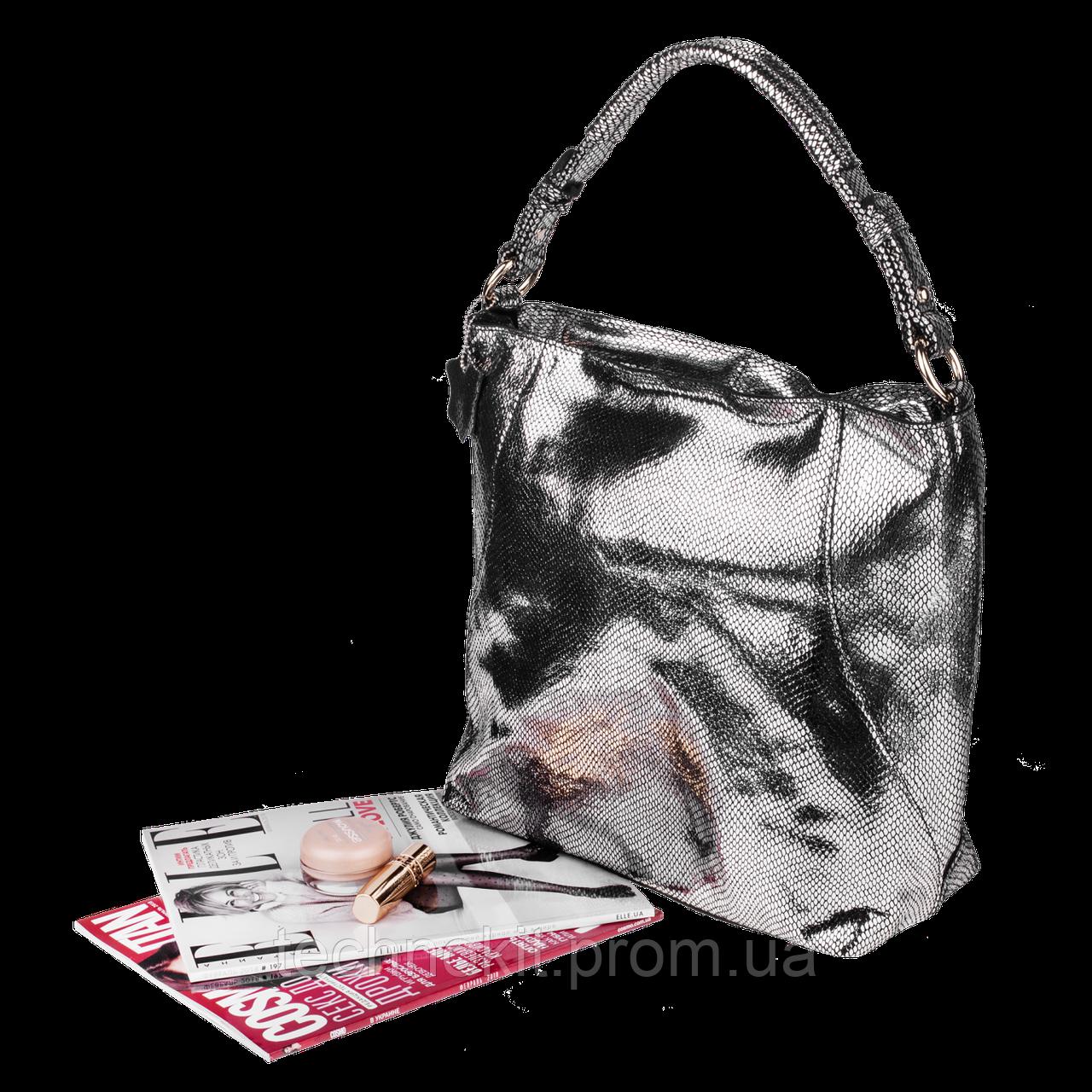 Кожаная женская сумка Realer 2032-1 античное серебро