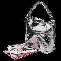 Кожаная женская сумка Realer 2032-1 античное серебро, фото 1