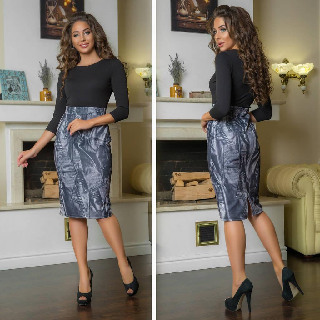 Облегающее платье миди , юбка с принтом  / 2 цвета арт 7224-544