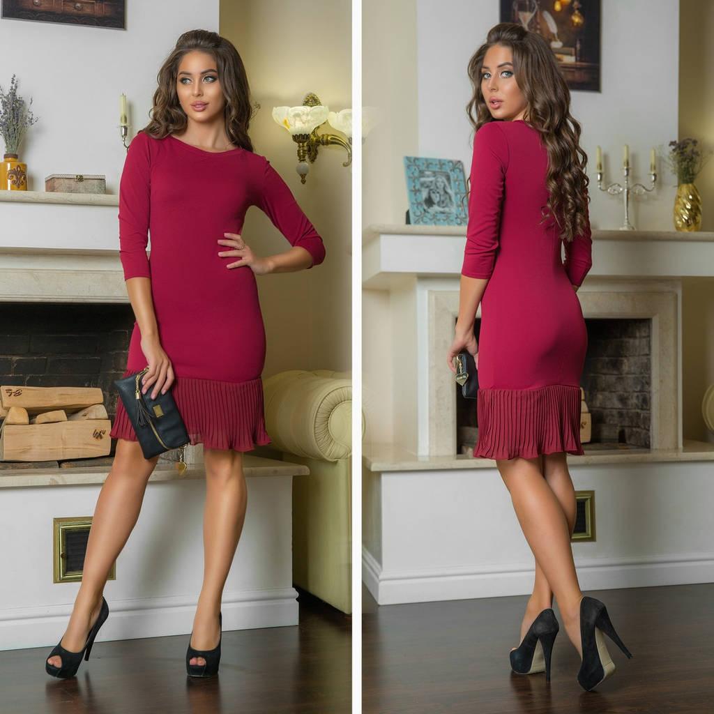Облегающее платье с плиссированной юбкой / 6 цветов арт 7228-544
