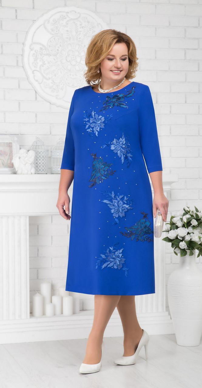 Платье Ninele-5676/1 белорусский трикотаж, василек, 54
