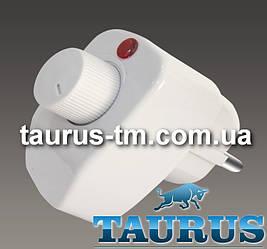 Білий регулятор на вилці для електроприладів до 500Вт., з індикатором. Диммер Україна White