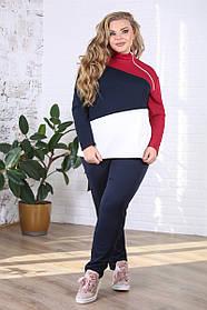 Женский костюм больших размеров на осень Абстракция цвет синий / размер 48-72