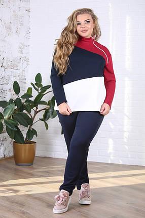 Женский костюм больших размеров на осень Абстракция цвет синий / размер 48-72 , фото 2
