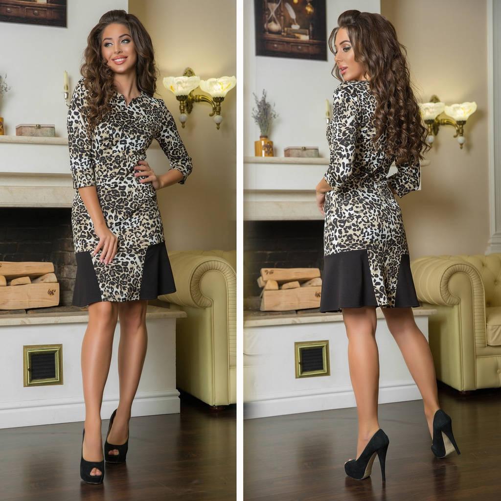 Леопардовое платье, приталенного кроя арт 7239-544