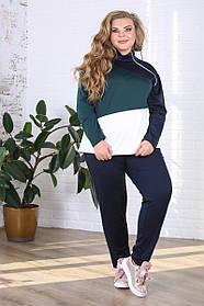 Женский костюм больших размеров на осень Абстракция цвет зеленый / размер 48-72