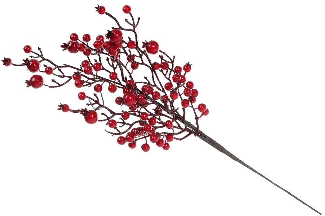 Декоративная ветка с красными ягодами 58см (734-510)
