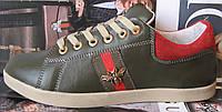 Кожаные кеды для мальчиков и подростков  Gucci туфли кроссовки Гуччи декорированы лентами в полоску