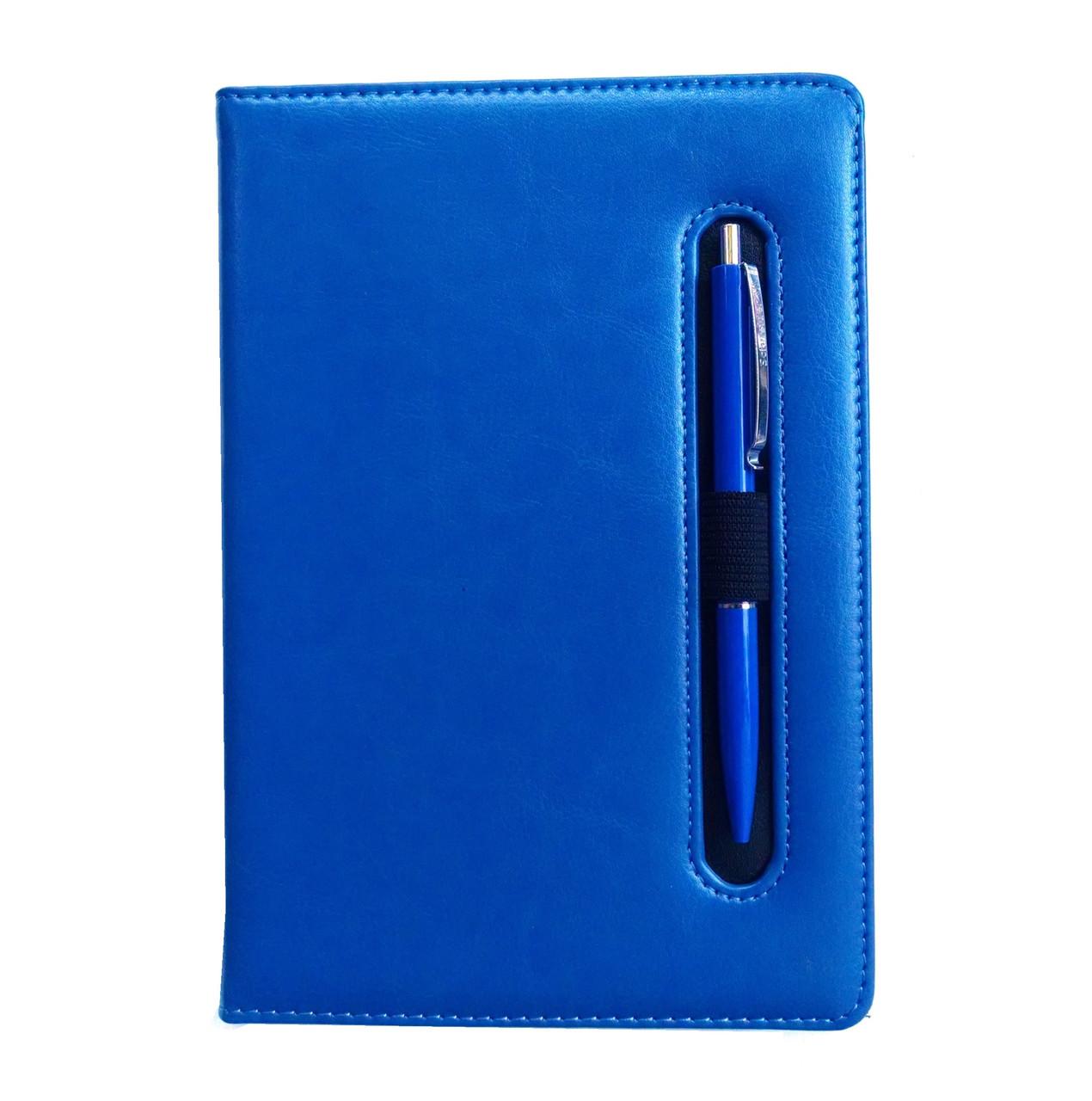 Ежедневник недатированный с ручкой А5, 150л., клетка №2801, синий