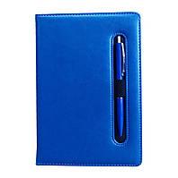 Ежедневник недатированный с ручкой А5, 150л., клетка №2801, синий, фото 1