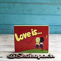 НАБОР НА 12 МОЛОЧНЫХ ШОКОЛАДОК« LOVE IS Красный » , фото 1