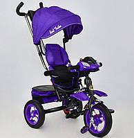 Трехколёсный детский велосипед Best Trike 6699 фиолетово-черный, надувные колеса, фото 1