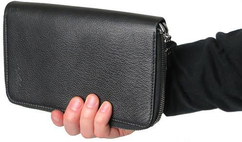 Мужской кожаный клатч кошелек барсетка Mykhail Ikhtyar 6003 чёрный, ДхШхТ: 21х13х3 см.