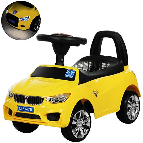 Каталка-толокар для малышей с магнитолой BAMBI M 3147B(MP3)-6 BMW прорезиненные колеса
