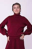 Теплый женский вязаный свитер под горло с объемным рукавом, фото 1