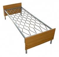 Кровать металлическая, одноярусная, спинка ДСП 190*80 для общежитий