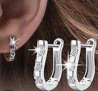 Стильные классические серьги с покрытием серебро, фото 1