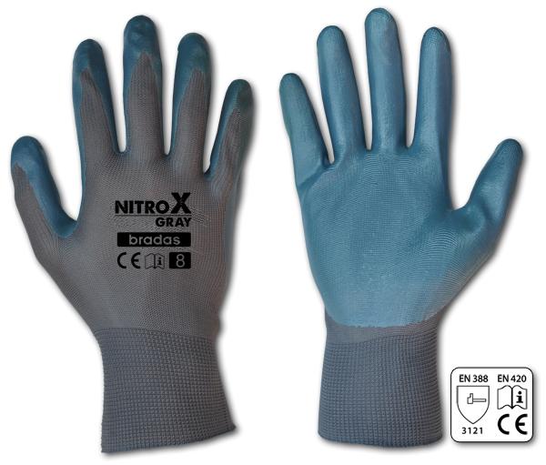Рукавиці захисні Bradas NITROX GRAY нітрил 9