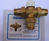 Термостатический 3-ходовой зонный клапан с функцией разделения и смешения потока (3/4)+термоголовка c датчиком, фото 2