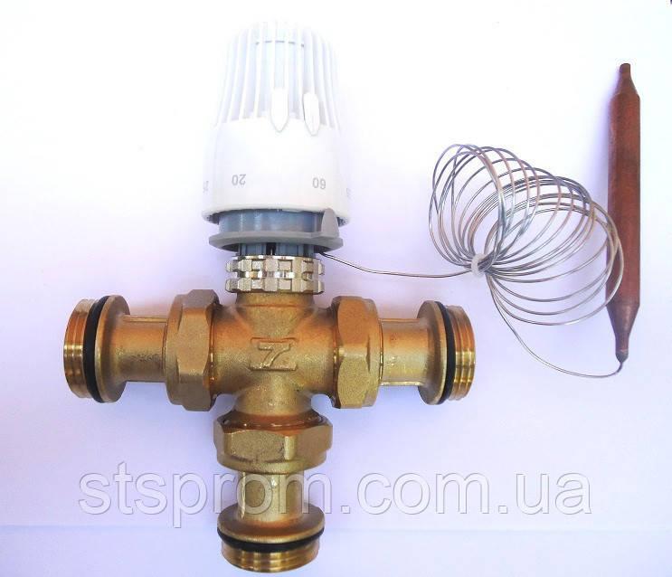 """Термостатический 3-ходовой зонный клапан с функцией разделения и смешения потока (1"""")+термоголовка с датчиком"""