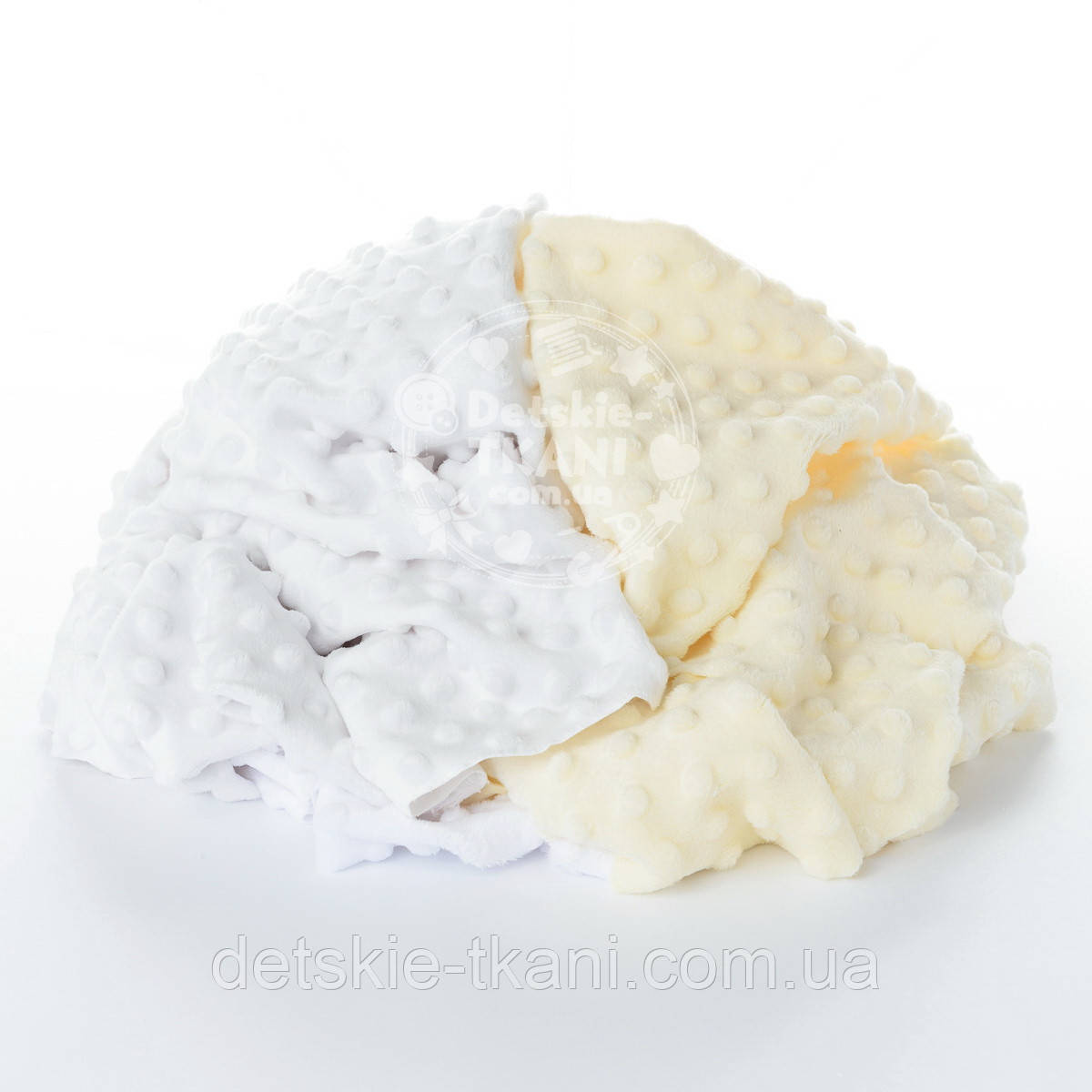 Плюш Minky лоскуты для рукоделия бело-молочного цвета, 0.5 кг