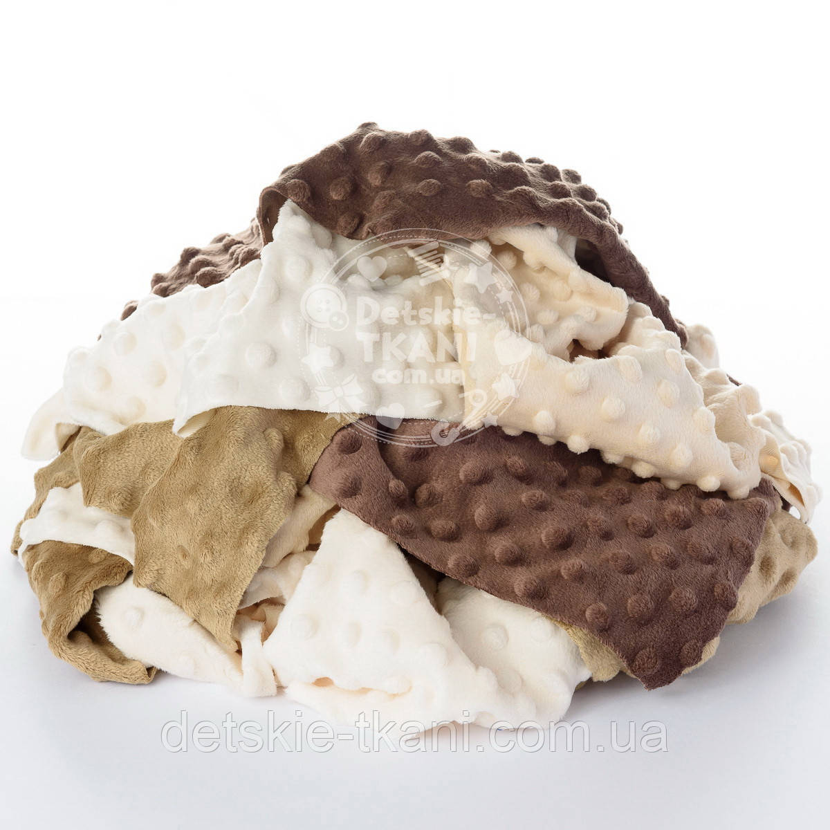 Плюш Minky лоскуты для рукоделия в бежево-коричневых цветах, 0.5 кг