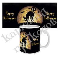 Чашка с принтом Happy Halloween Кошка
