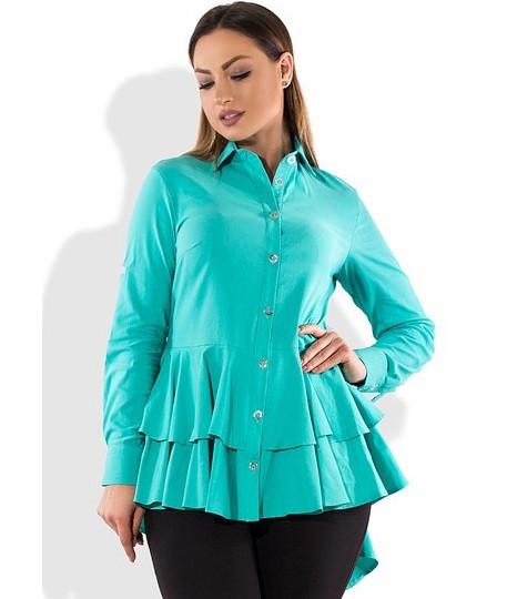Рубашка бирюзовая бэби-долл со шлейфом размеры от XL 3143