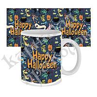 Чашка с принтом Happy Halloween мультяшки