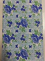 Ситец белоземельный (синие цветы) (95) Узбекистан, фото 1