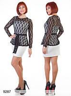 Трикотажное платье с отделкой из гипюра, фото 1