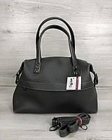 Серая модная сумка женская городская повседневная с ручками и плечевым ремнем