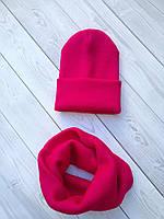 Комплект шапка и снуд, универсального размера - one size ™️IRIS. Фуксия