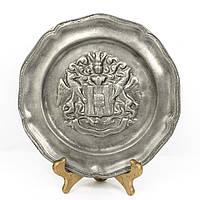Антикварная оловянная тарелка олово, Германия 1900