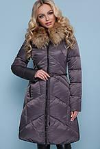 Зимова жіноча курточка довга, капюшон з натуральним хутром