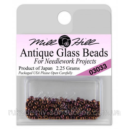 03033 бисер Mill Hill, 11/0 Claret Antique Glass Beads
