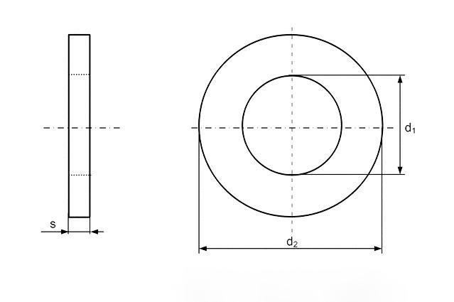 Шайба Ф72 DIN 125 - чертеж