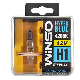 Галогенная лампа WINSO 12V H1 HYPER BLUE 4200K 55W P14.5s SET 712150