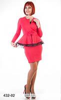 Трикотажное платье с втачной баской, фото 1