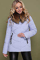 Зимова жіноча коротка курточка, капюшон з натуральним хутром
