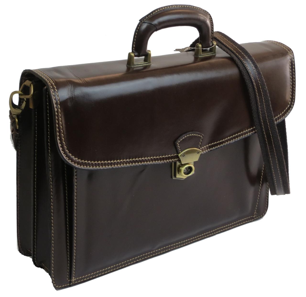 Элегантный кожаный мужской портфель TOMSKOR 81562 коричневый