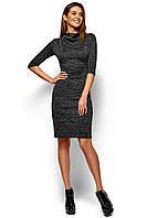 Короткое черное меланжевое платье