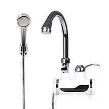 Проточный водонагреватель Delimano с душем LED экраном мгновенный нагреватель воды Делимано мини бойлер кран , фото 2