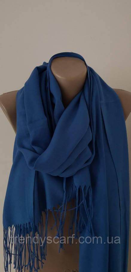 Женский палантин шарф однотонный.Темно голубой.Синий.Кашемир 180/80